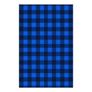 Blue plaid pattern custom stationery