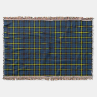 Blue plaid print, black yellow stripe throw blanket