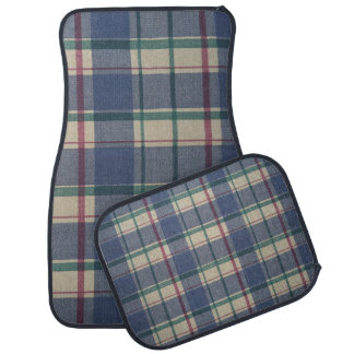 Blue Plaid Set of 4 Car Mats