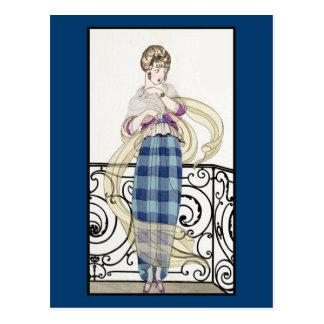 Blue Plaid Skirt Postcard