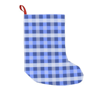 Blue Plaid Small Christmas Stocking