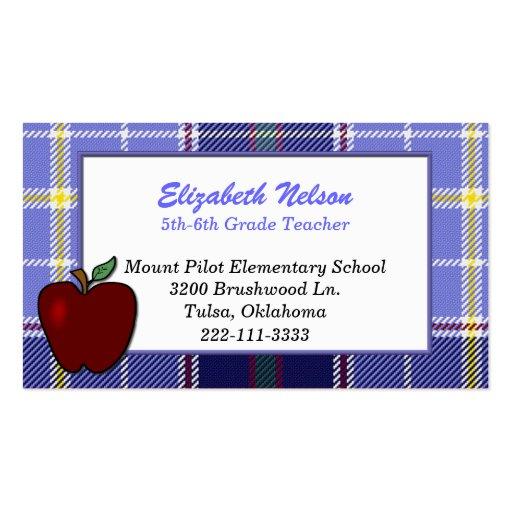 Blue Plaid Teacher's business card