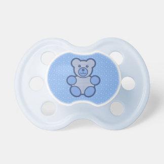 Blue Plaid Teddy Bear Pacifier