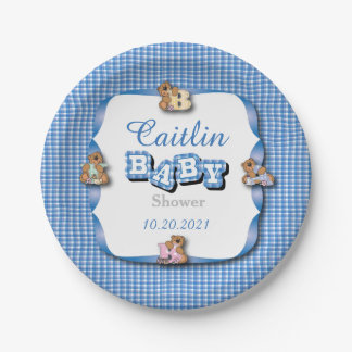 Blue Plaid with Baby Bears | Baby Boy Shower Paper Plate