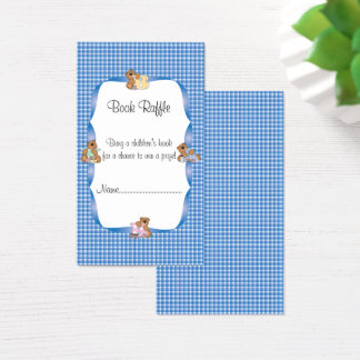 Blue Plaid with Baby Bears Theme Book Raffle Business Card