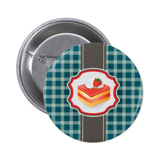 Blue Plaid with cupcake 2 Inch Round Button
