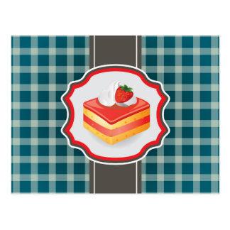 Blue Plaid with cupcake Postcard