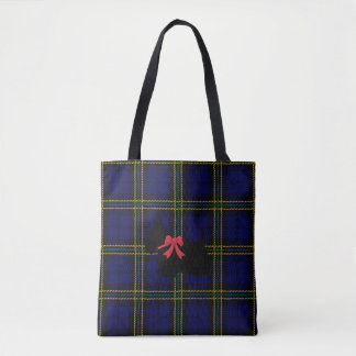 Blue plaid with Scottish Terrier with red bow Tote Bag