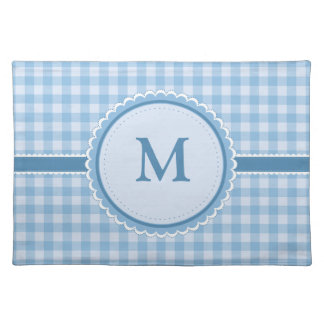 Blue Plaid    Your Initial    Custom Placemat