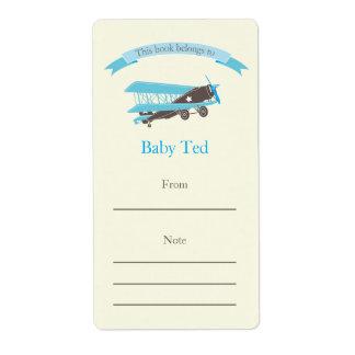 Blue Plane Bookplate Shipping Label