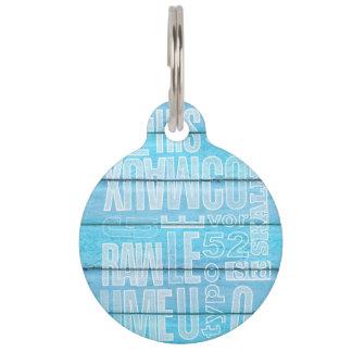 Blue Planks Pet Name Tags