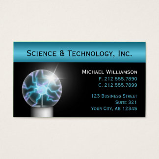 Blue Plasma Ball Science Business Cards