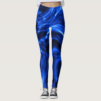 Blue Plasma Energy Abstract Art Leggings