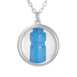 Blue plastic bottle silver plated necklace