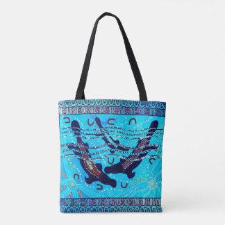Blue Platypus Aboriginal Tote Bag