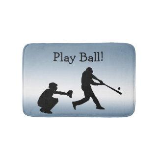 Blue Play Ball Baseball Sports Bath Mat