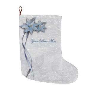 Blue Poinsettias on Silver Large Christmas Stocking