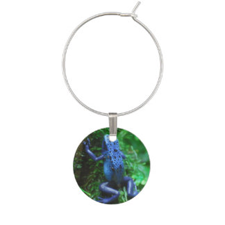 Blue Poison Arrow Frog Wine Charm
