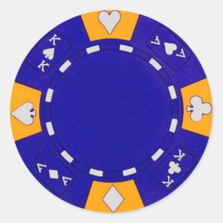 Blue Poker Chip Classic Round Sticker