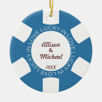 Blue poker chip lucky in love couple photo vegas round ceramic ornament