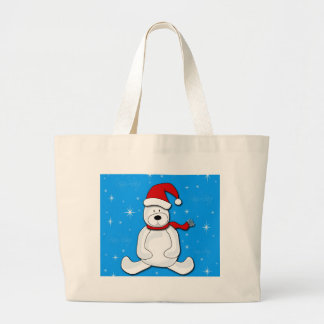 Blue polar bear large tote bag
