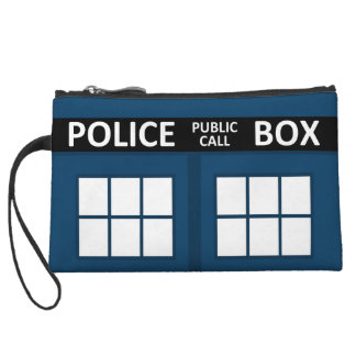 Blue Police Box Bag, Clutch, Wristlet
