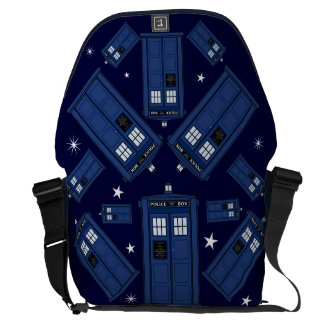 Blue Police Box Bag - Geek Classic SciFi Stars Courier Bag