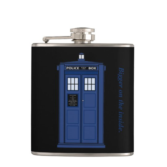 Blue Police Box Bigger on the Inside geek flask