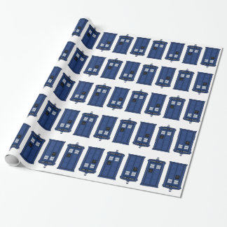 Blue POLICE Box Geek giftwrap Wrapping Paper