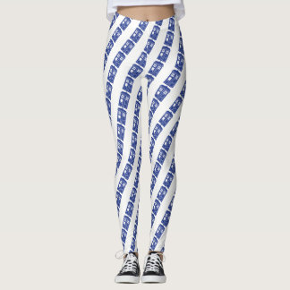 Blue Police Box Striped Leggings