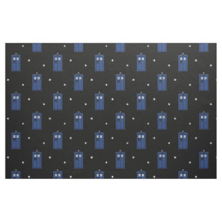 Blue Police Box with stars British SciFi Fabric