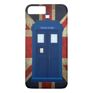 Blue police call box with Union Jack Flag iPhone 7 Plus Case