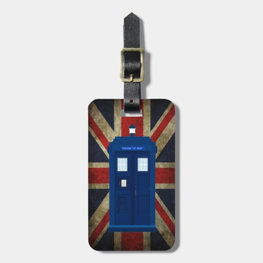 Blue Police Phone Box UK British Union Jack Flag Bag Tag
