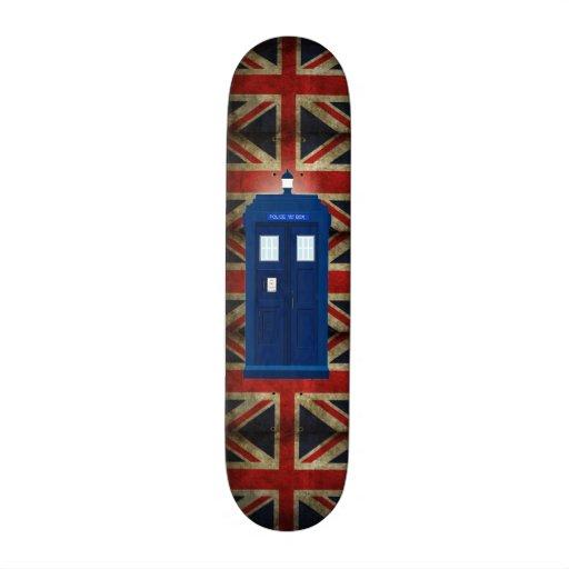 Blue Police Phone Box & Union Jack British Flag Skate Decks