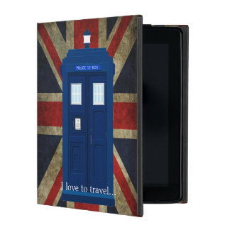Blue Police Phone Box with Union Jack British Flag iPad Case