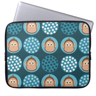 Blue Polka Dot and Monkey Design Laptop Sleeve