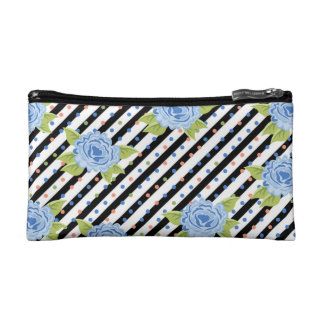 Blue Polka Dot and Stripe Roses Floral Pattern Cosmetic Bag