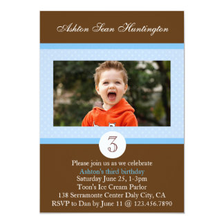 Blue Polka Dot Birthday Photo Invite
