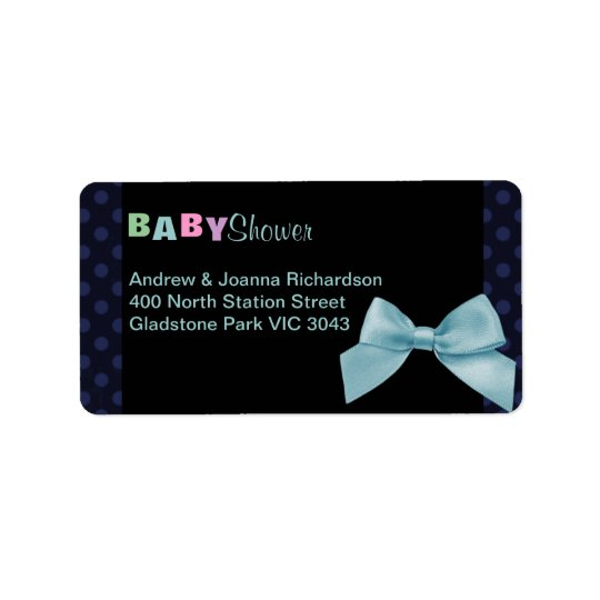 Blue Polka Dot & Bow Address Label