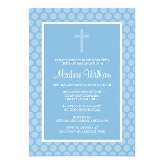 "Blue Polka Dot Cross Boy Baptism Christening 5"" X 7"" Invitation Card"