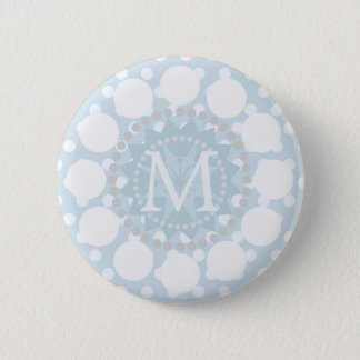 Blue Polka Dot Customisable Monogram Badge 2 Inch Round Button