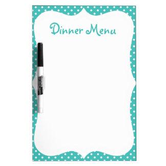 Blue Polka Dot Dinner Menu Dry Erase Board