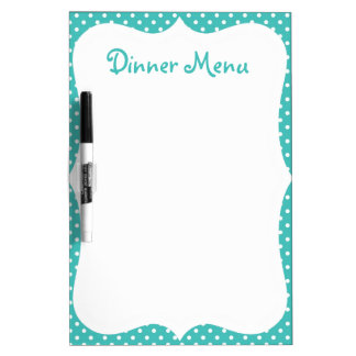 Blue Polka Dot Dinner Menu Dry-Erase Whiteboard