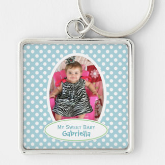 Blue Polka Dot Framed Keychain: Add Your Picture Silver-Colored Square Keychain
