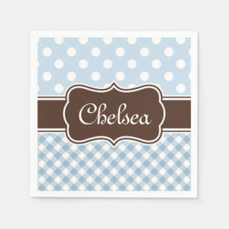 Blue Polka Dot Gingham Patterns Brown Name Paper Napkin