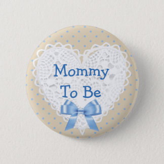 Blue Polka Dot Mom to be Baby Shower Button