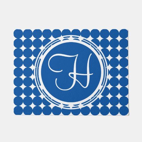 Blue Polka Dot Monogram Doormat