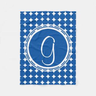 Blue Polka Dot Monogram Fleece Blanket