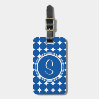 Blue Polka Dot Monogram Luggage Tag
