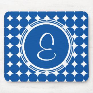 Blue Polka Dot Monogram Mouse Pad
